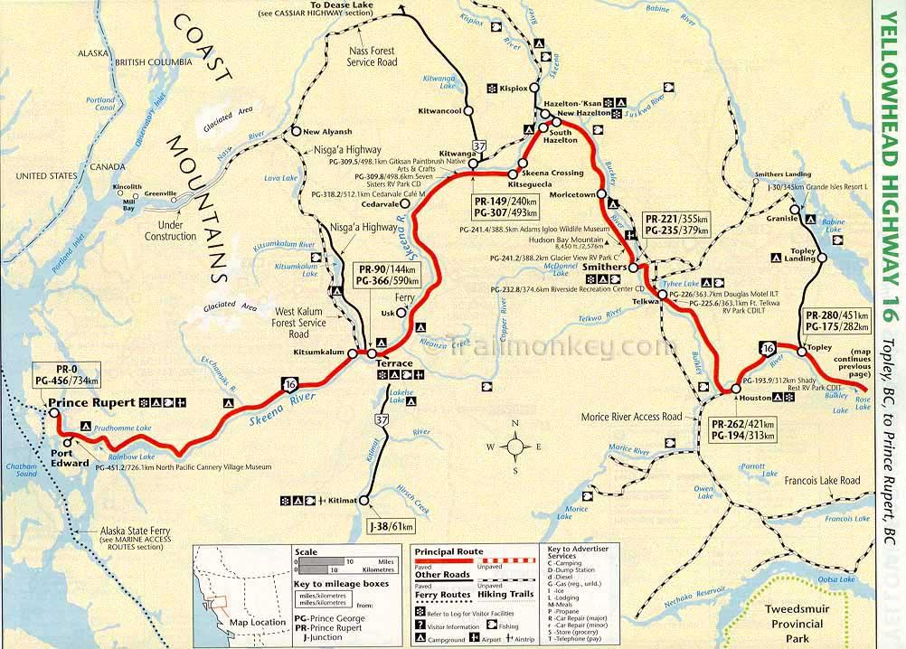 Map Of Yellowhead Highway Canada British Columbia – Trailmonkey